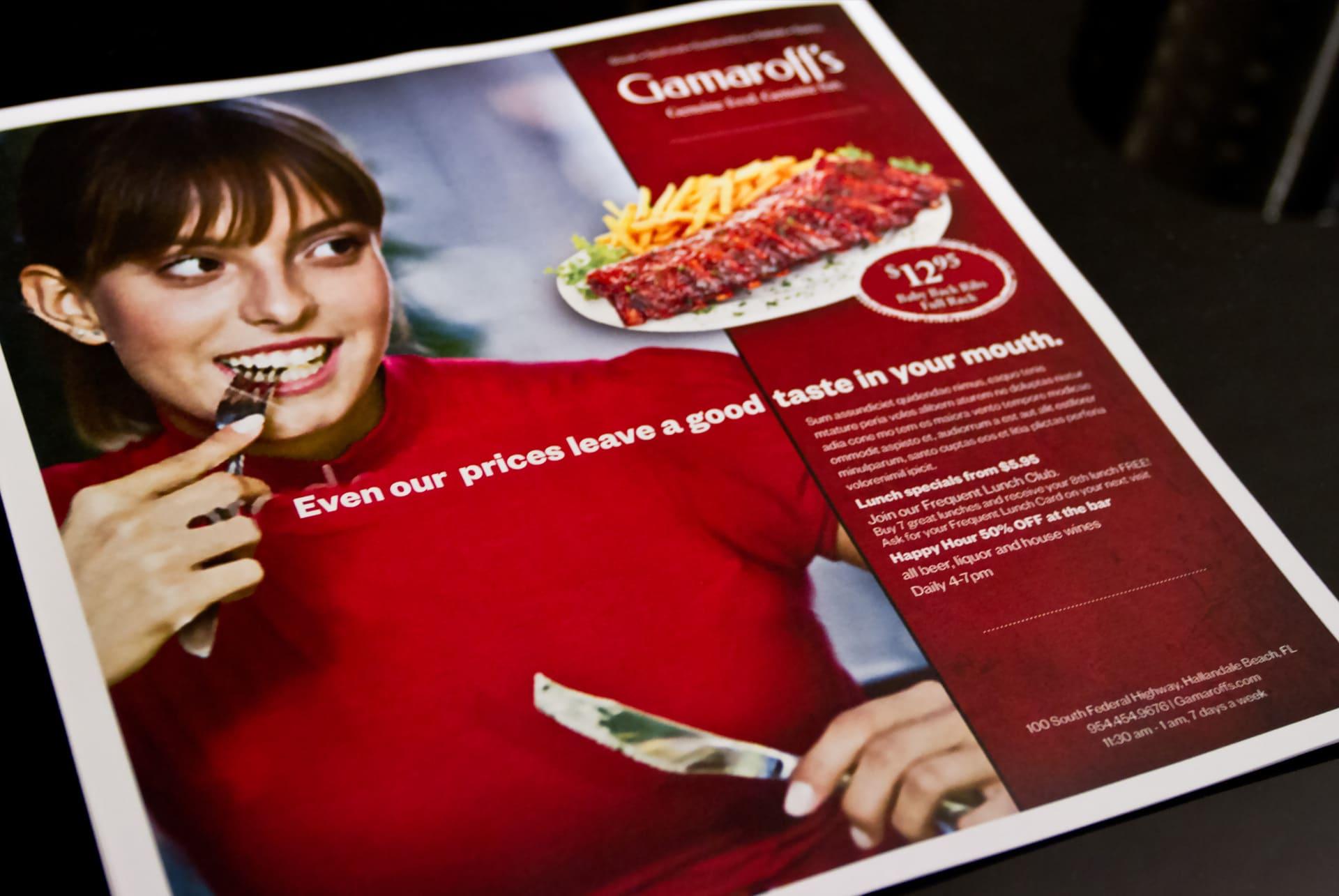 Gamaroff's Print Ad